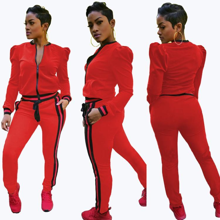 2019 Fashion Women Contrast Bands Red Tracksuit With Puff Shoulder Ladies Casual Clothing