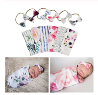Baby Blankets Printed Newborn Infant Baby Boys Girls Sleeping Swaddle Muslin Wrap with Headband 2PCS Newborn Photography Prop