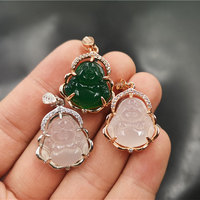 XUNBEI Hot Sale Popular 925 silver gold plated green jade buddha necklace pendant jewelry