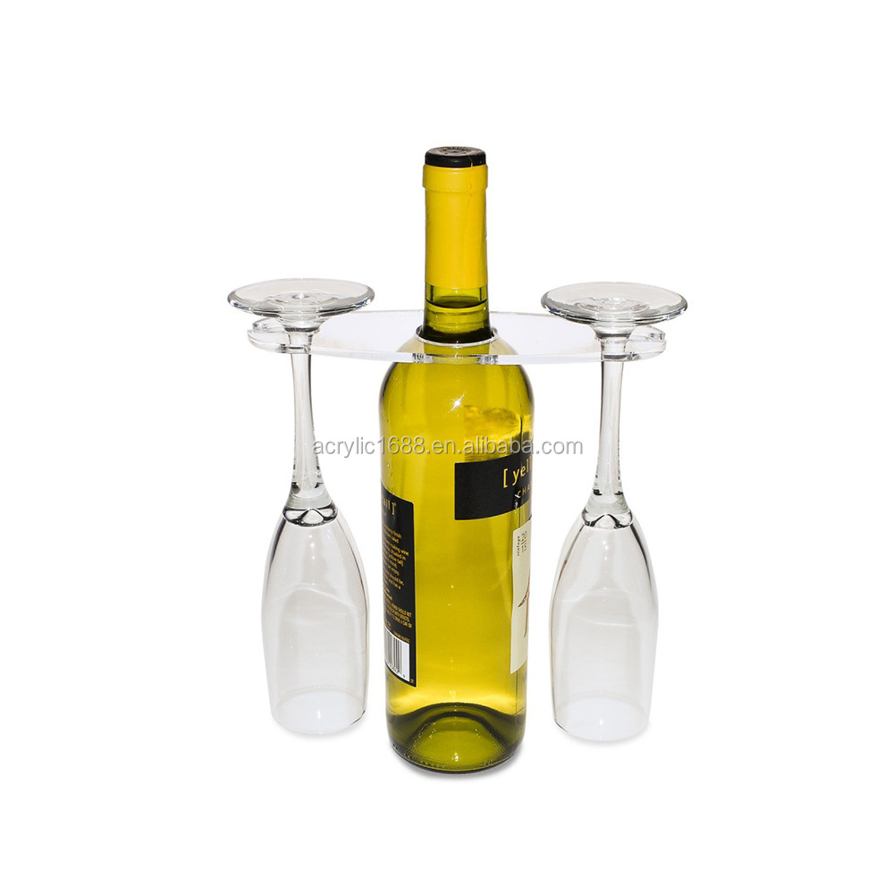 Customized clear 2 acrylic wine glass cup holder