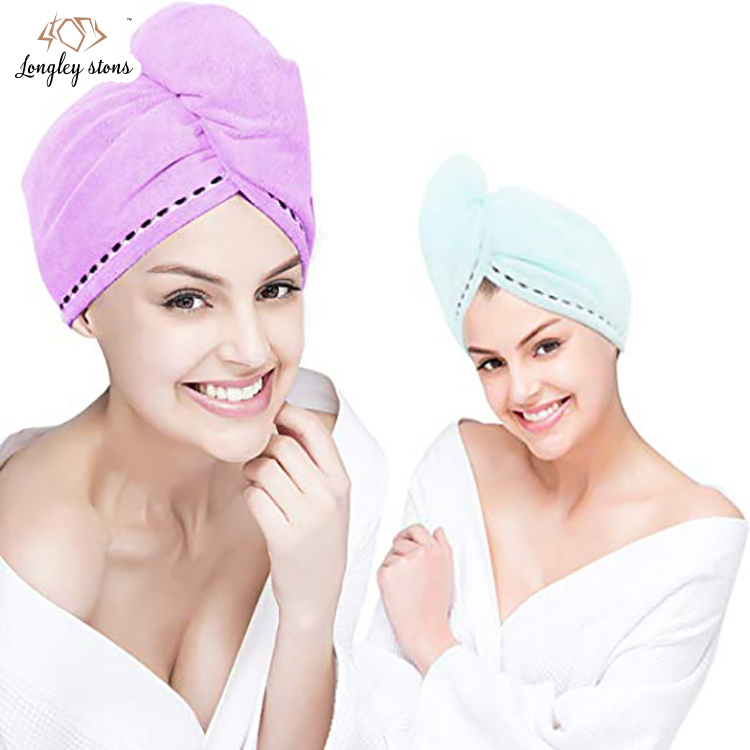 Strong water absorbent quick dry microfiber hat hair turban wrapped towel for women