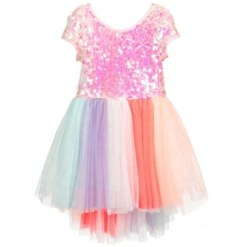 Iridescent Sequins Jersey Bodice High Low Cut Colourful stripes Cotton Voile Gathered Tutu Dress Girls Kids