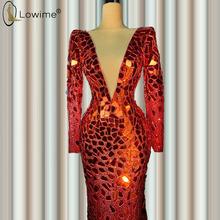Потрясающие бордовые вечерние платья с длинными рукавами, с кристаллами и русалочкой, сексуальное платье с v-образным вырезом, праздничное ...(Китай)