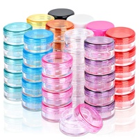Mini 3g/5g plastic cosmetic sample jar with colored lid