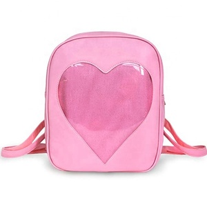 Pink Teens Girls Candy PU Leather Clear Backpack Ita Bag With Heart
