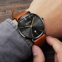 OLEVS ультра тонкие мужские часы Топ бренд класса люкс Натуральная кожа повседневные Кварцевые водонепроницаемые наручные часы Мужские часы(China)