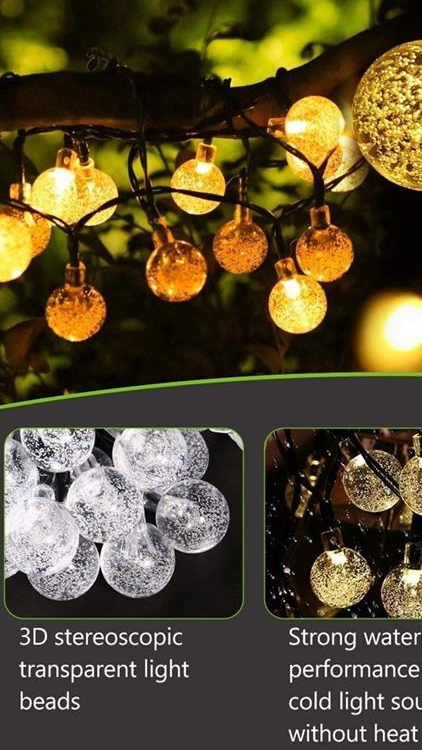 Solar String Lights   Outdoor Garden Lights  Waterproof 30 LEDs Crystal Ball Decorative Light for Tree Patio Yard Wedding