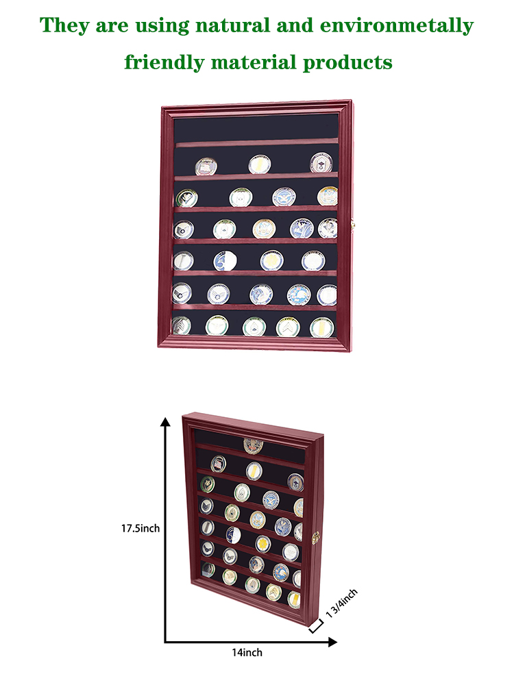 Military Challenge Coin Display Case Cabinet Rack Holder with Door