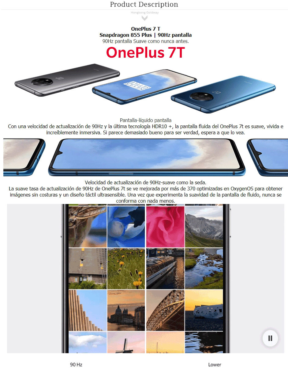Global ROM OnePlus 7T 7 GB dRAM ROM 128GB telefono movil Snapdragon 855 Plus Octa Core 6,55 pantalla 48MP Triple Camara