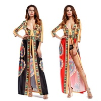 New Bohemian dress African totem digital print large v slit long skirt female