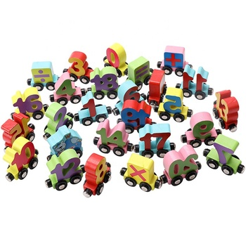 wooden digital alphabet and insect wooden train assembling toys