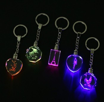 Promotional Gift Factory Price Custom Logo LED Light Crystal Keychain