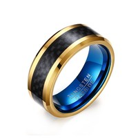 Gold and blue color tungsten carbide diamond ring blank inlay with channel setting