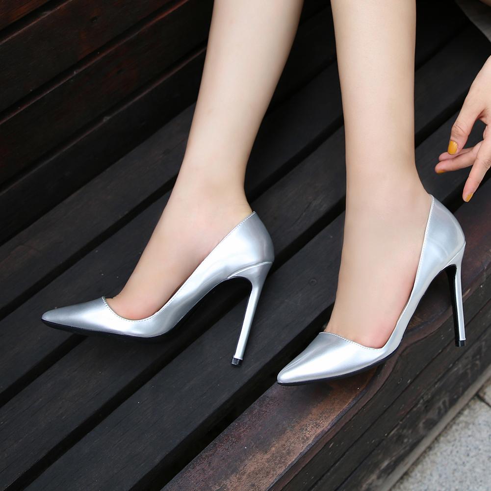 Bout Pointu Noir Plaine PU En Cuir Sexy Stiletto Sandales À Talons Hauts Pour Les Femmes