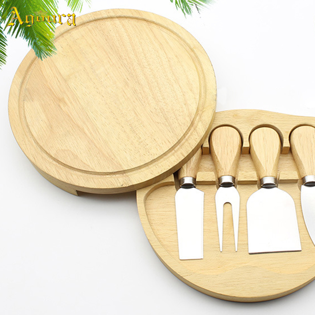 Custom wooden box round unscrewed rubber cutlery wooden box cheese set 4 piece set wooden boxes