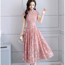 Весна-лето 2020, однотонное Кружевное платье миди в китайском стиле размера плюс, винтажное подиумное платье макси, элегантное женское облега...(Китай)