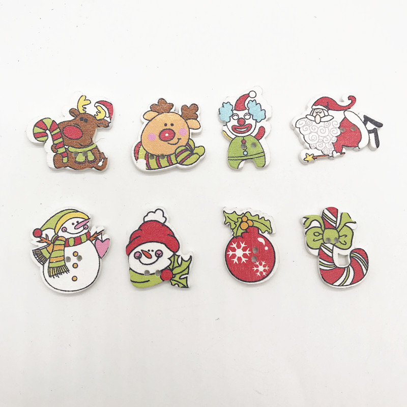 100 pcs  Christmas wooden scrapbook decoration,DIY handmade Christmas wooden buttons