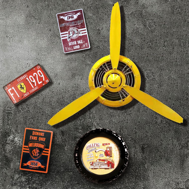 Antique Retroโลหะอุตสาหกรรมเหล็กใบพัดบ้านFarmhouse Wallนาฬิกาตกแต่ง
