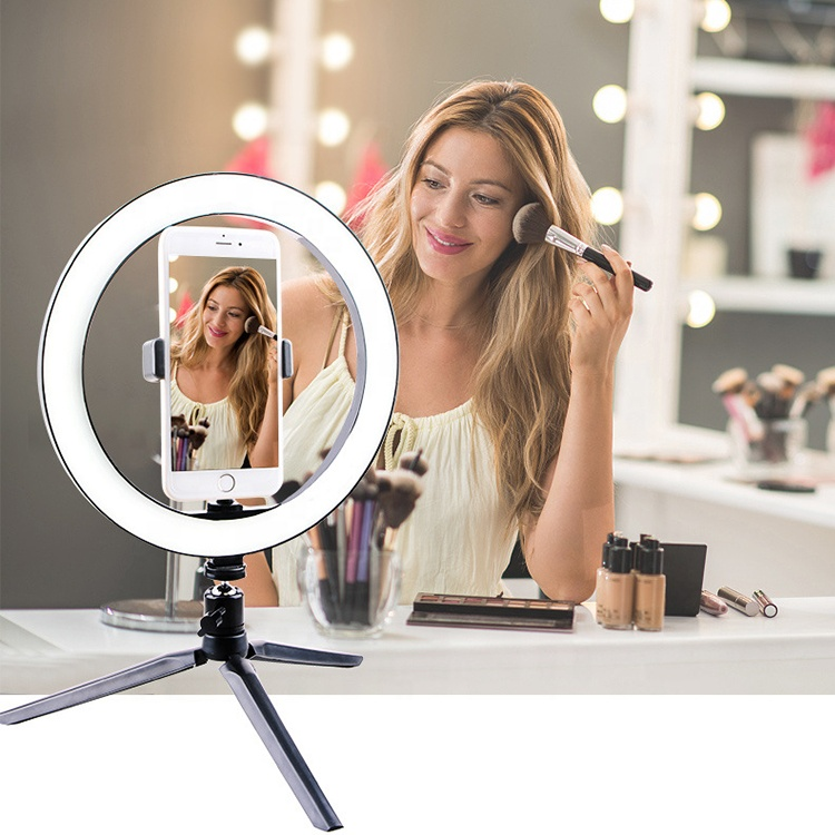 10 inch Cell Phone Led Lamp Camera Selfie Ringlight Holder Fill Ring Light With Tripod Stand