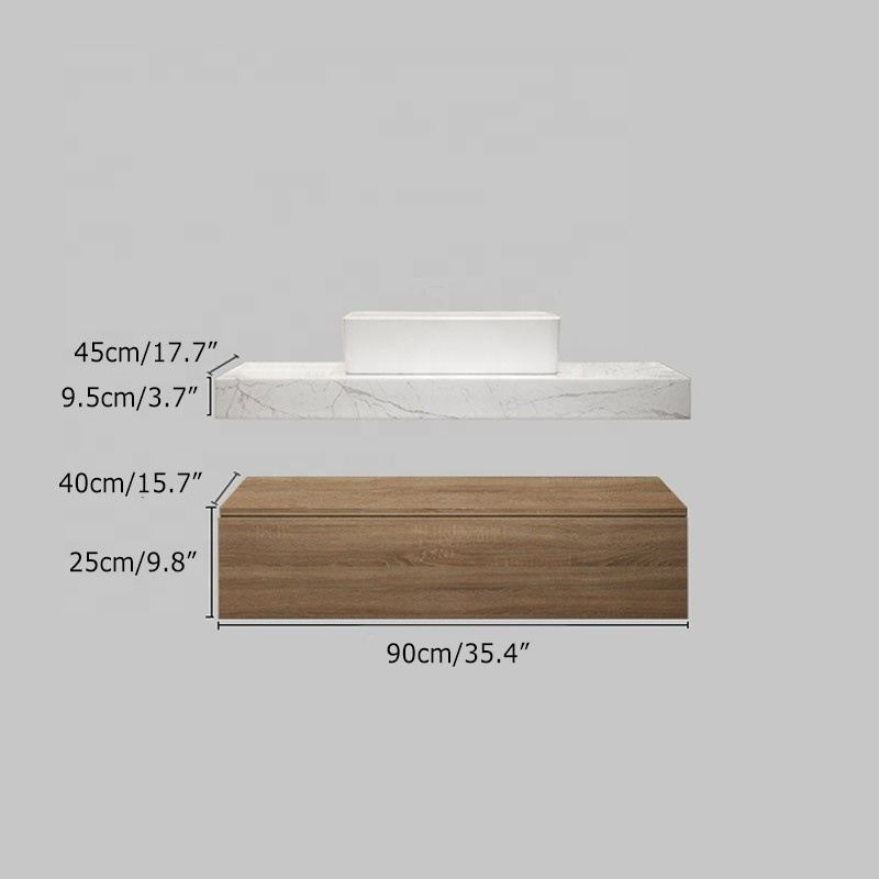36 Inch Floating Marble Top Plywood Bathroom Vanity Unit with Sink