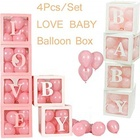 Umiss Paper DIY Transparent Box Latex Balloon Baby Love Blocks for Boy Girl Baby Shower, Wedding Birthday Party Decoration