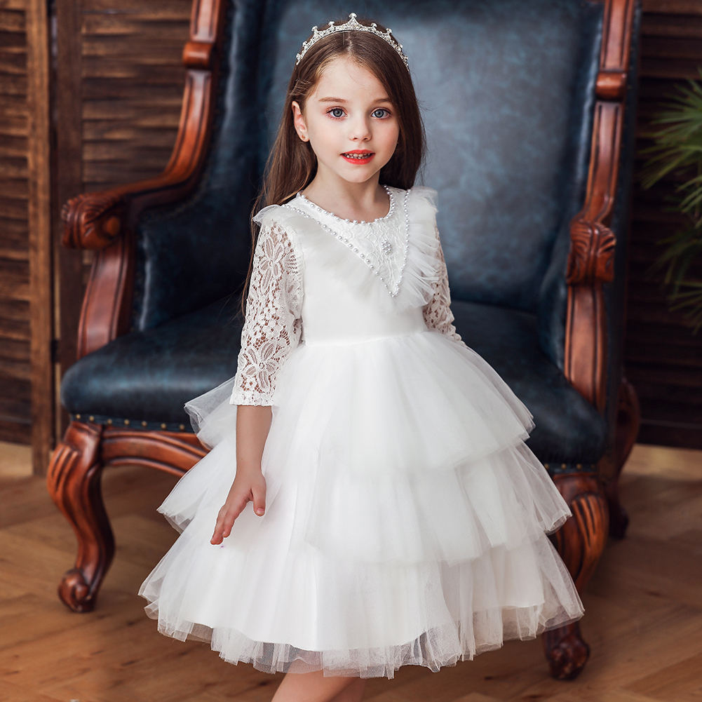 New arrival baby girl dress Tutu birthday party dress Lace long sleeve in stock