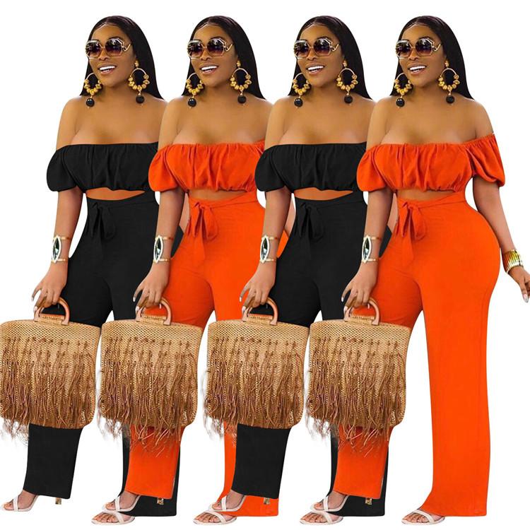 0620M023 Wholesale Price Off The Shoulder Solid Color Crop Top Wide Leg Pant One Piece Summer Women Fashion Jumpsuit