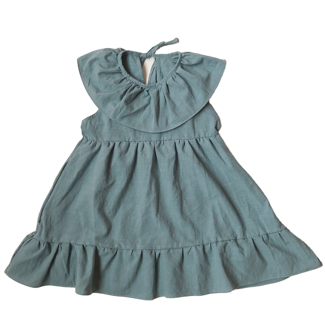 Ready To Ship <strong>Kids</strong> Big Collar Lace Skirt Dress Girl <strong>Fashionable</strong> Solid Linen <strong>Kids</strong> Long Dress
