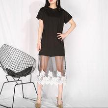 Женское платье с коротким рукавом EAM, черное Сетчатое кружевное платье с коротким рукавом и круглым вырезом, HA04821, новинка весенне-летнего се...(Китай)