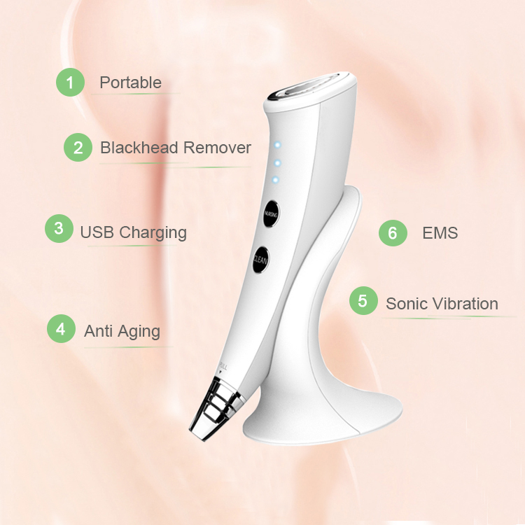 Skin Care Remove Fine Lines EMS Face Massager Electric Blackhead Remover Vacuum