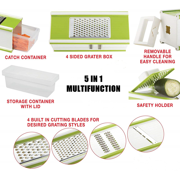 5 In 1 Kitchen Tools Vegetable Shredder, Cheese Grater, Swivel Peeler and Storage Container Magic Kitchen Tool