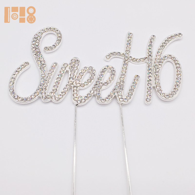 Sparking numero dolce 16 cake topper di strass oro cake topper di Strass 16th Torta Di Compleanno Decorazione