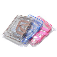 SGA00124 3 pieces makeup pouch travel clear PVC toiletry bag