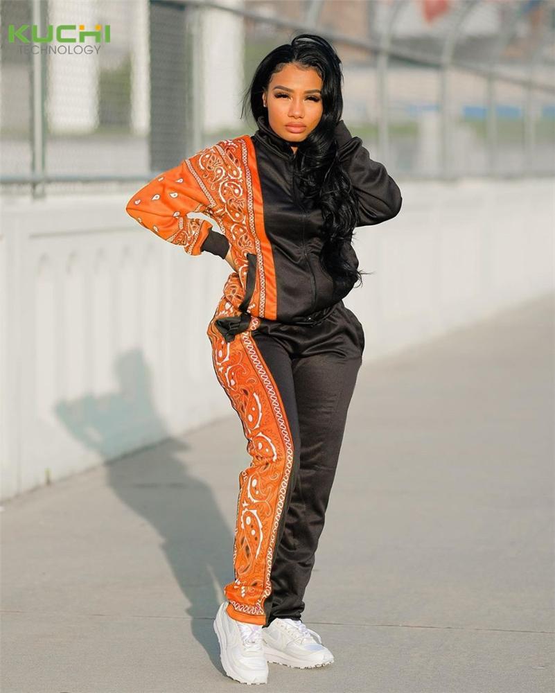 2020女性ペイズリーバンダナパンツショーツ2ピースセットジャケット秋冬服衣装2ピース女性卸売ジョギングセット