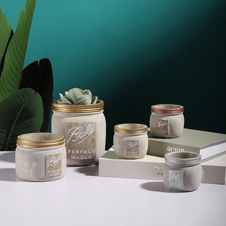 Optional size mason jar shape cement garden decoration mini flowerpot / indoor outdoor home decor succulent pots for green plant