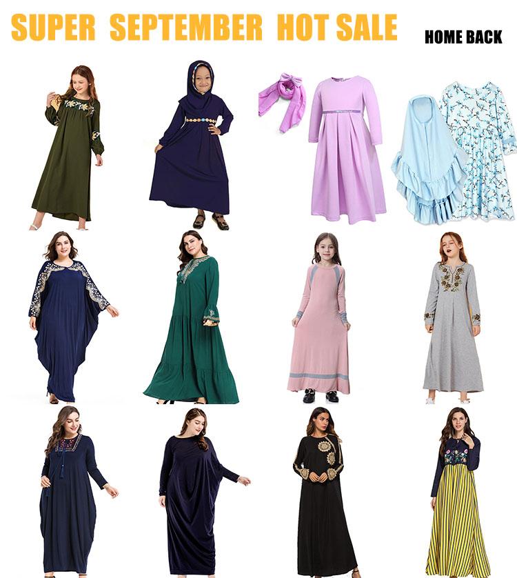 Dubai Islamic Panjang Gaun Sweater Bordir Pakaian Muslim Olahraga Jubah Mesir Gaun Abaya
