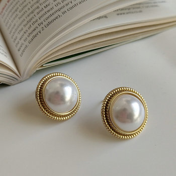 Big baroque pearl earrings for women Pure Gold plated 925 sterling silver stud real pearl earrings