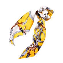 17KM Цветочная жемчужная лента для волос с длинным бантом и конским хвостом, шарф для волос, резинки для волос, женские эластичные резинки для ...(Китай)