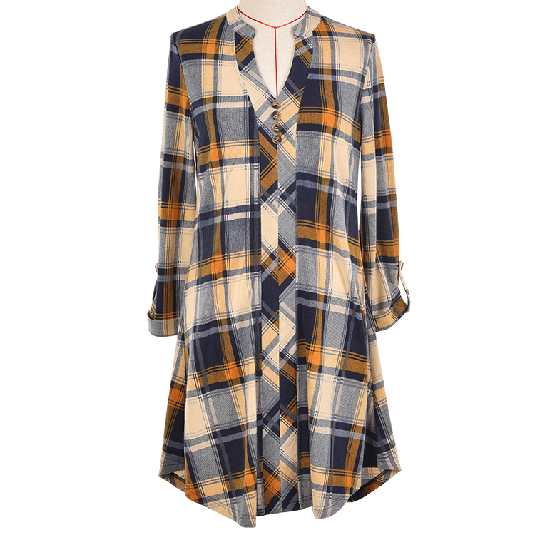 2019 Autumn <strong>Cotton</strong> Linen Women Shirts Plaid <strong>Blouses</strong> Long Sleeve <strong>Lady</strong> <strong>Blouses</strong> long tunic shirt checked Casual tops