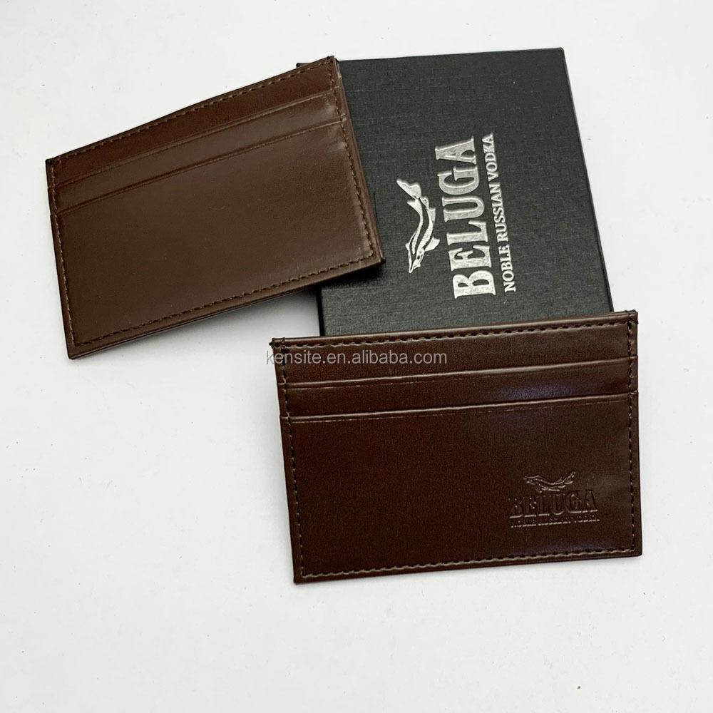 RFID custom black pu leather credit card holder