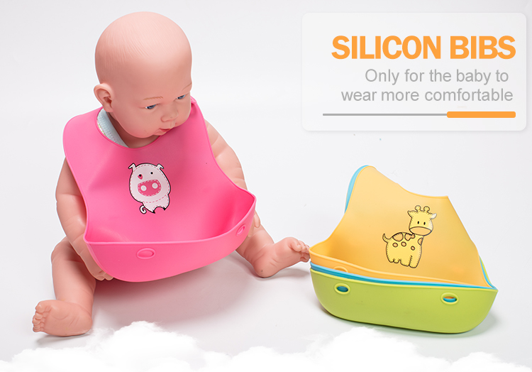 Soft 100% Food Grade Baby Silicon Bibs With Pocket
