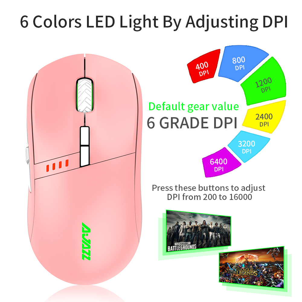 Ajazz 16000 DPI Pink Wireless / Wired RGB Optical Mouse for PC Professional Gamer