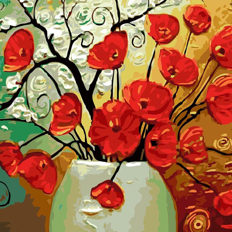 Hot selling custom wall art home decor handmade flower DIY digital oil painting