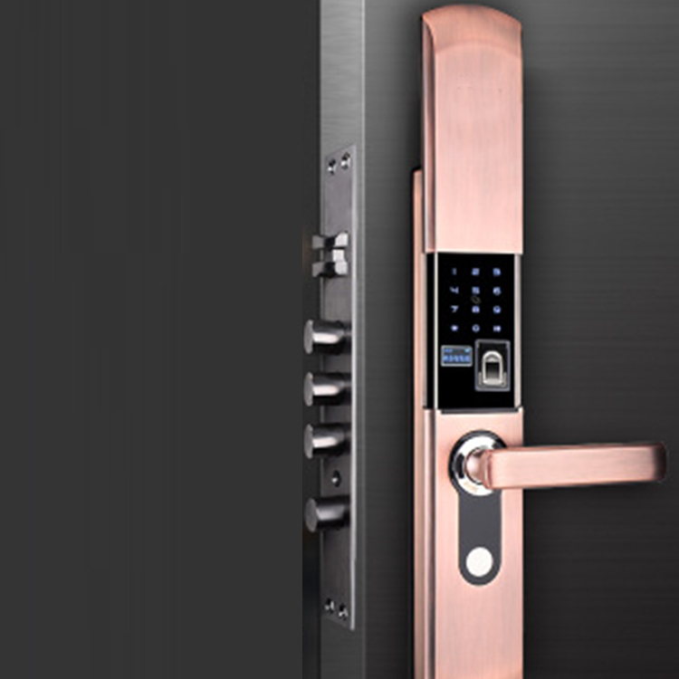 Smart home electronic fingerprint password swipe card anti-theft door indoor wooden door slide lock