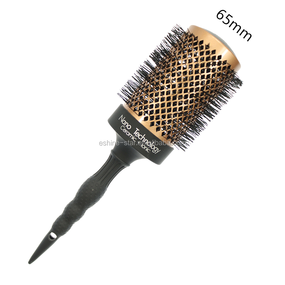 Private logo accept professional round ceramic nylon bristle hair brush