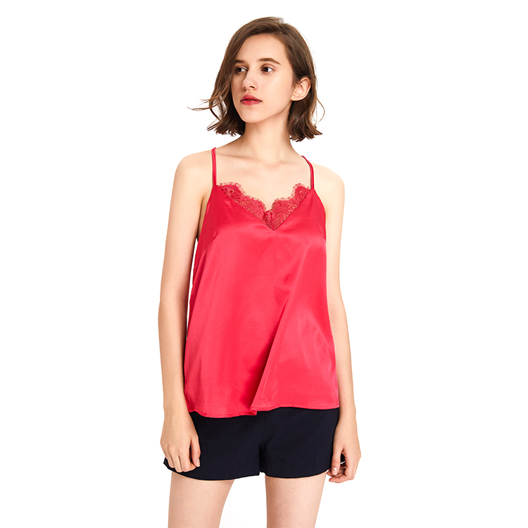 Factory supply Casual Women Blouse Red Tank Top Sleeveless 2019 Ladies Blouses Tops Lace Clothing