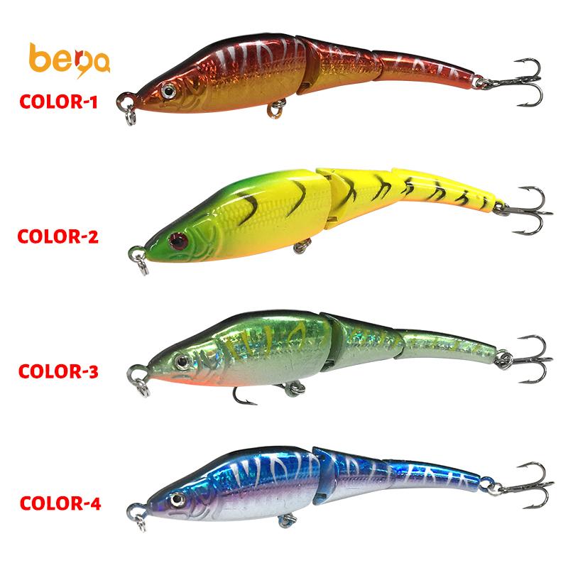 Sert plastik 3 bölüm 4 renkler 11 CM/8g simülasyon Swimbait Lures eklemli Minnow balıkçılık Lures balıkçılık yem
