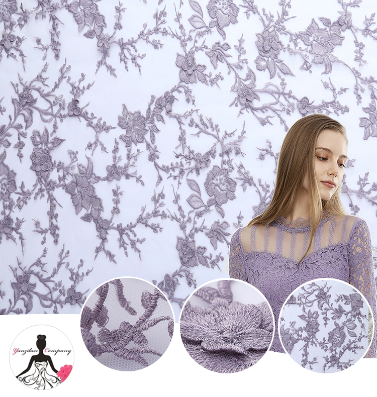 Cheap Made In China Dress Designs <strong>Dubai</strong> Light Purple <strong>Lace</strong> Fabric, Fashion Apparel Flat Embroidery <strong>Lace</strong>