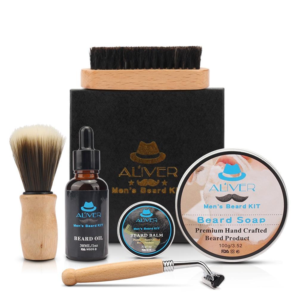ALIVER 6 in 1 Men's Care Gift Beard Shaping Tool With Beard Oil soap Brush Dual Combs Bib Travel Bag Beard Grooming Kit