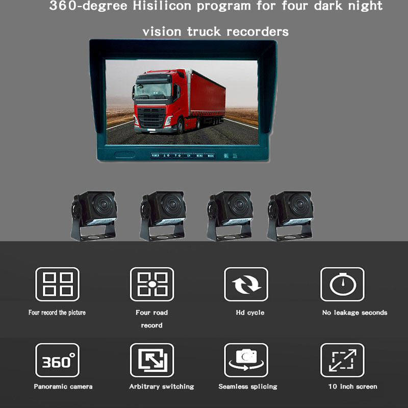 AHD 360 Quad Split Monitor DVR Video Recording and AHD Rear Front Side Backup Reverse Cameras for Truck Bus RV Van Trailer